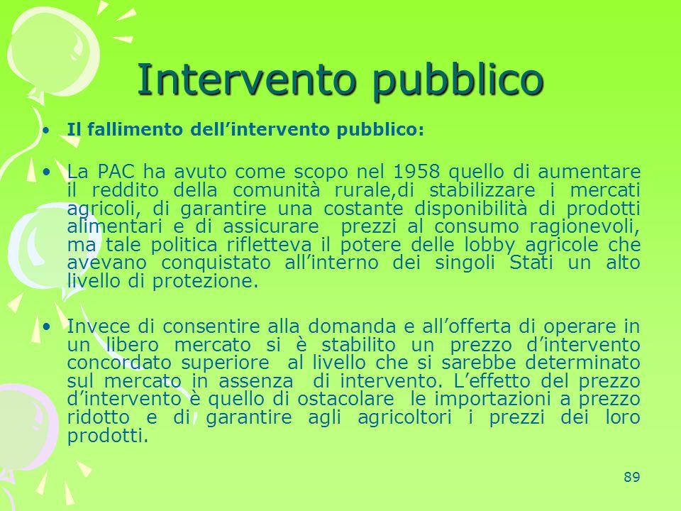 Intervento pubblico Il fallimento dell'intervento pubblico: