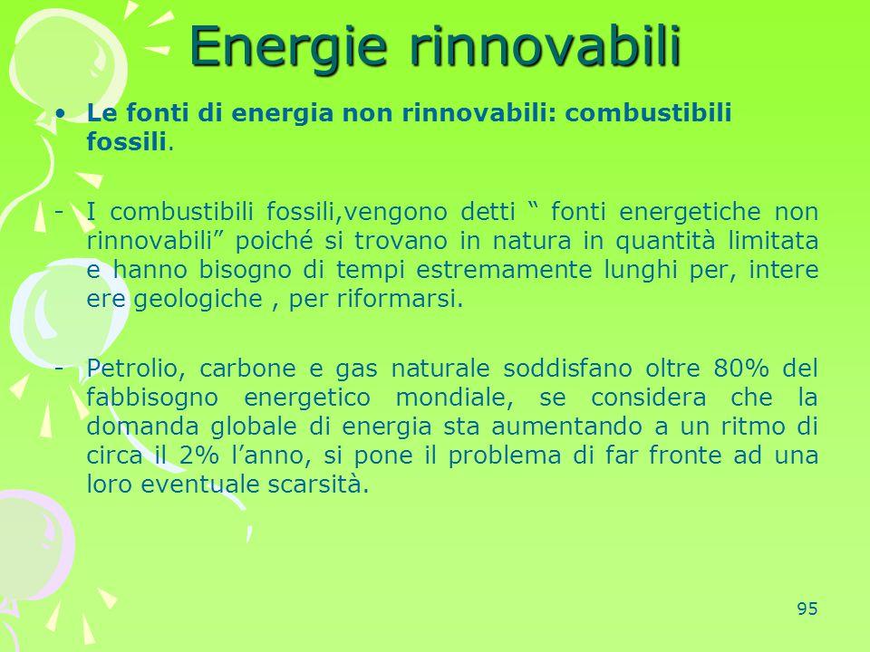 Energie rinnovabili Le fonti di energia non rinnovabili: combustibili fossili.