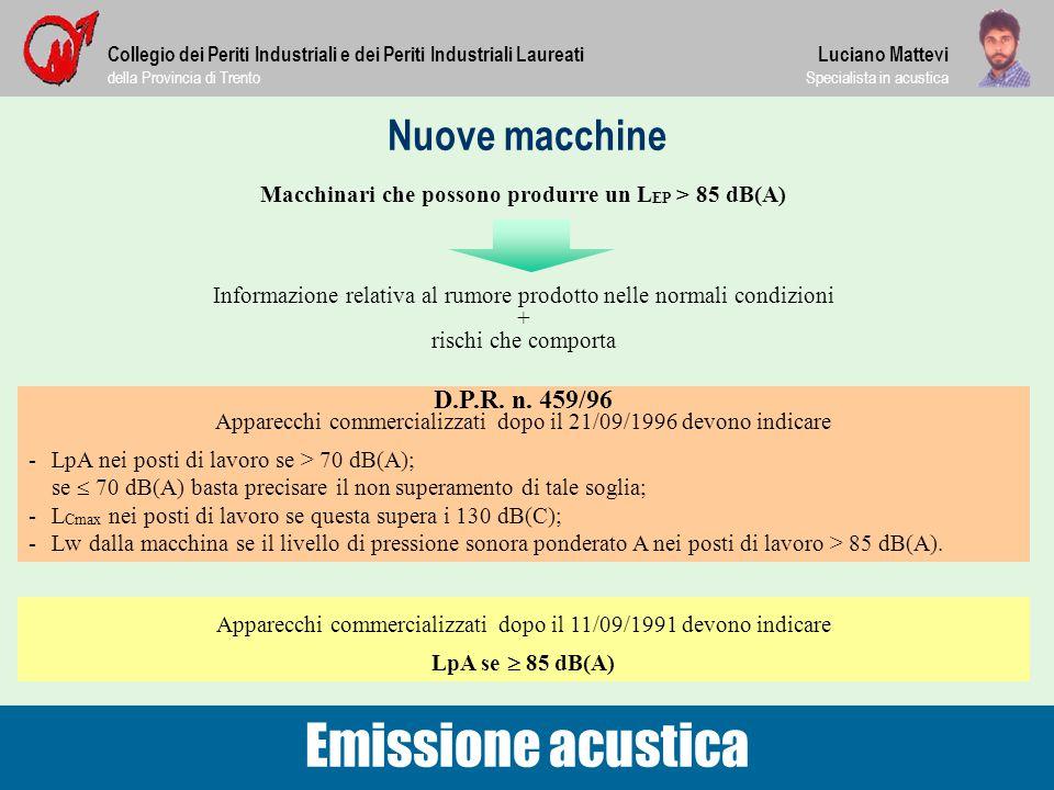Macchinari che possono produrre un LEP > 85 dB(A)