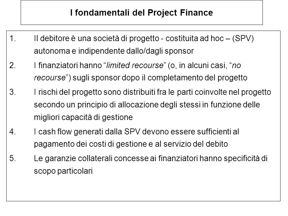 I fondamentali del Project Finance