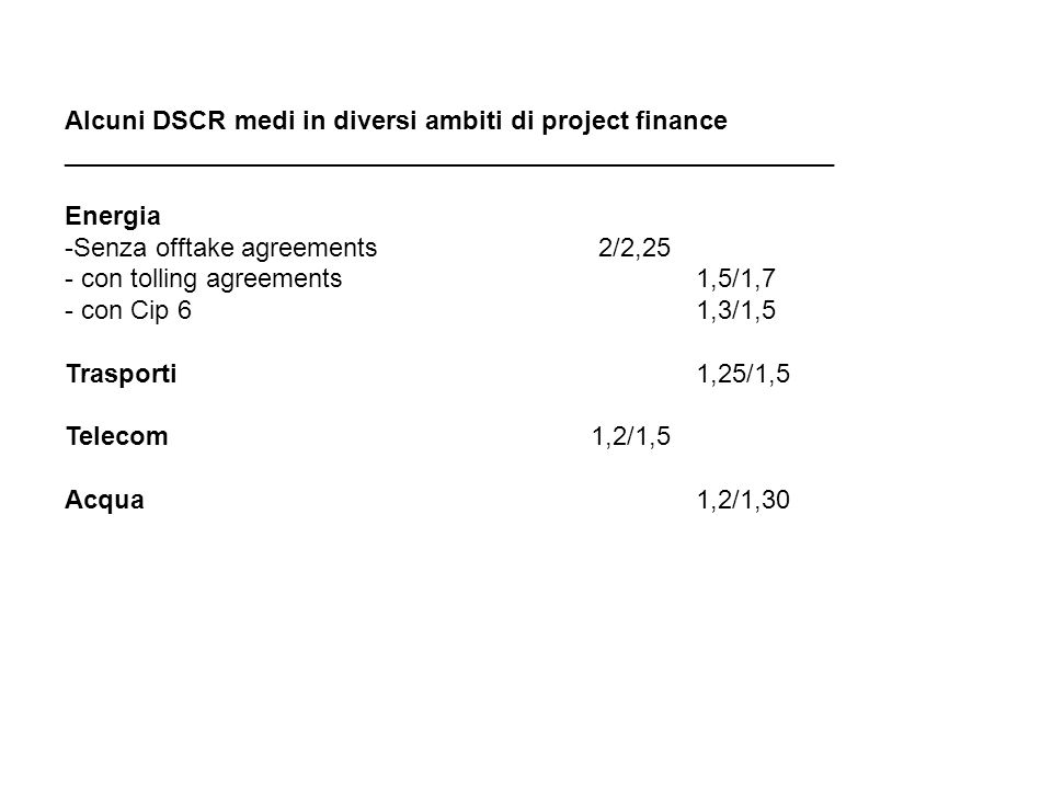 Alcuni DSCR medi in diversi ambiti di project finance