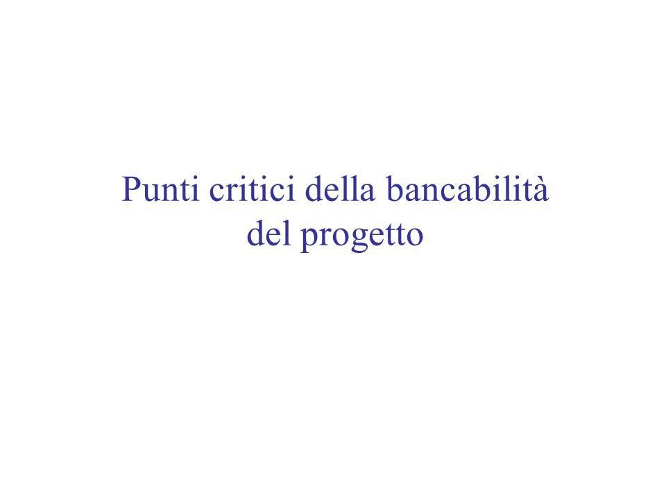 Punti critici della bancabilità del progetto