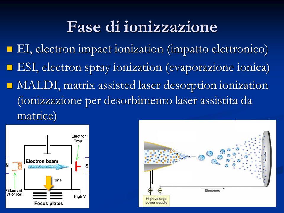 Fase di ionizzazione EI, electron impact ionization (impatto elettronico) ESI, electron spray ionization (evaporazione ionica)