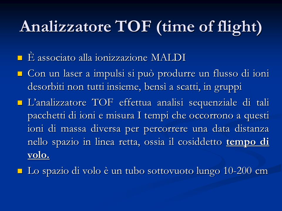 Analizzatore TOF (time of flight)