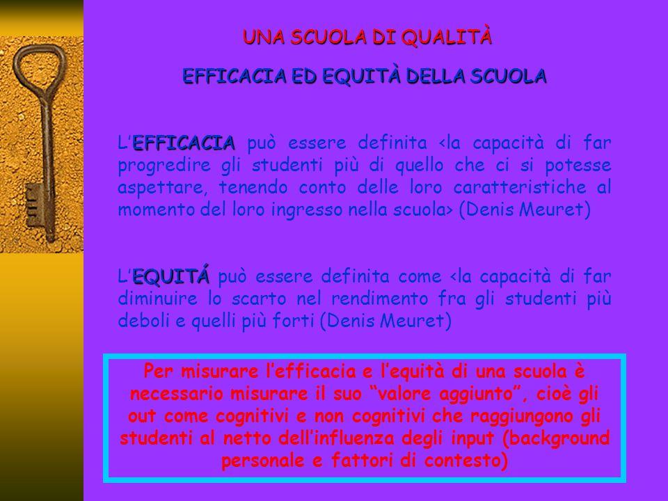 EFFICACIA ED EQUITÀ DELLA SCUOLA