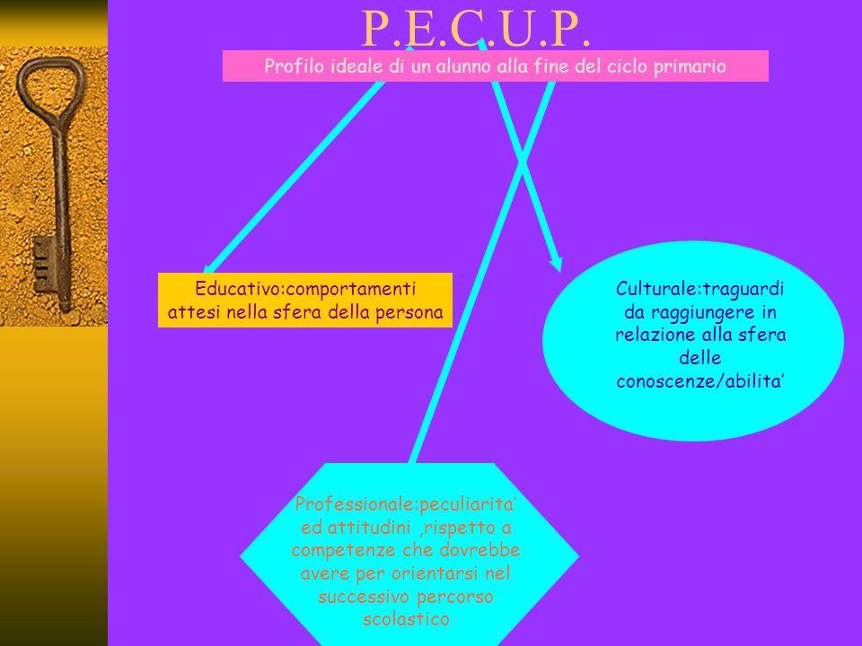 P.E.C.U.P. Profilo ideale di un alunno alla fine del ciclo primario