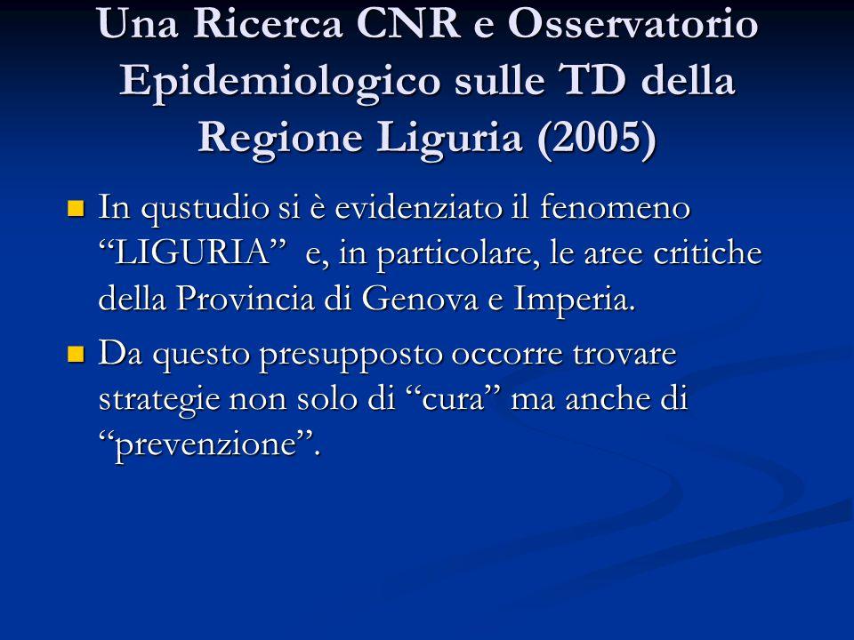 Una Ricerca CNR e Osservatorio Epidemiologico sulle TD della Regione Liguria (2005)
