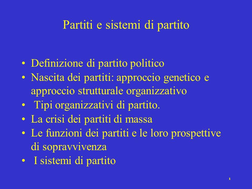 Partiti e sistemi di partito