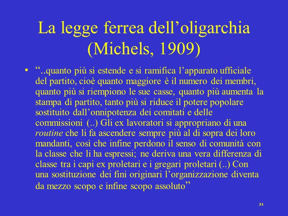 La legge ferrea dell'oligarchia (Michels, 1909)