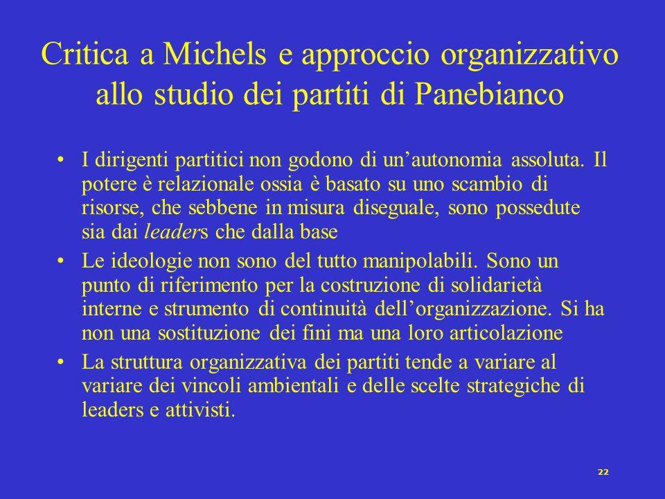 Critica a Michels e approccio organizzativo allo studio dei partiti di Panebianco