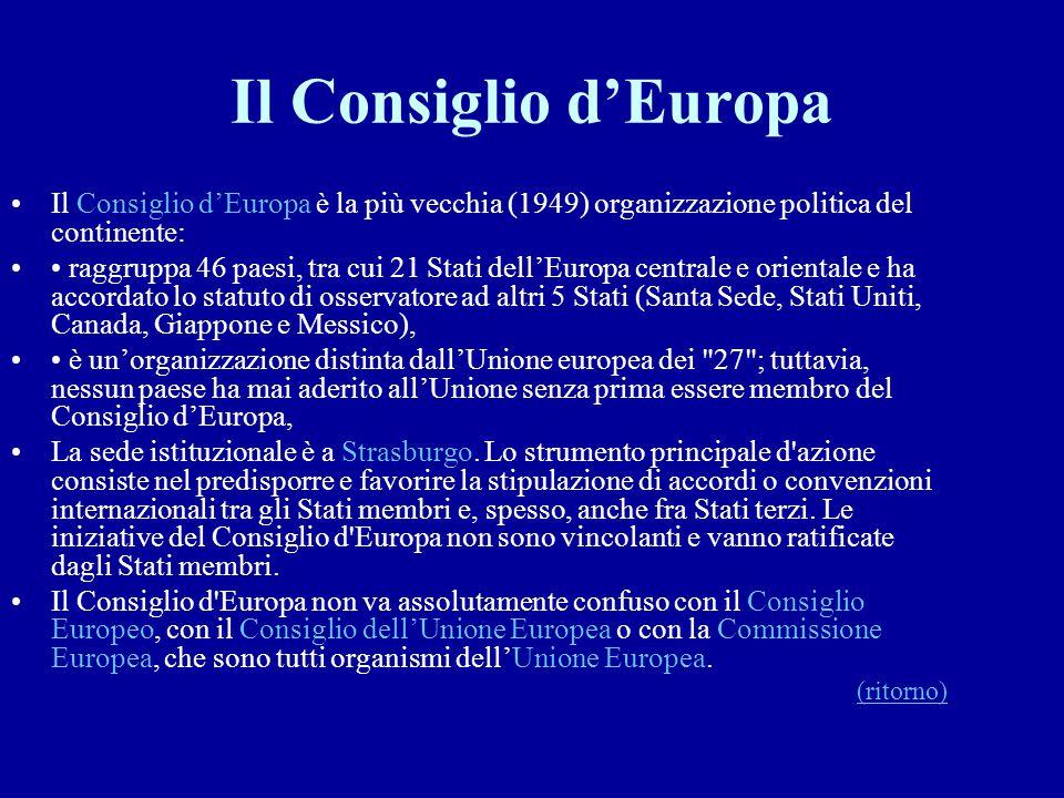 Il Consiglio d'Europa Il Consiglio d'Europa è la più vecchia (1949) organizzazione politica del continente:
