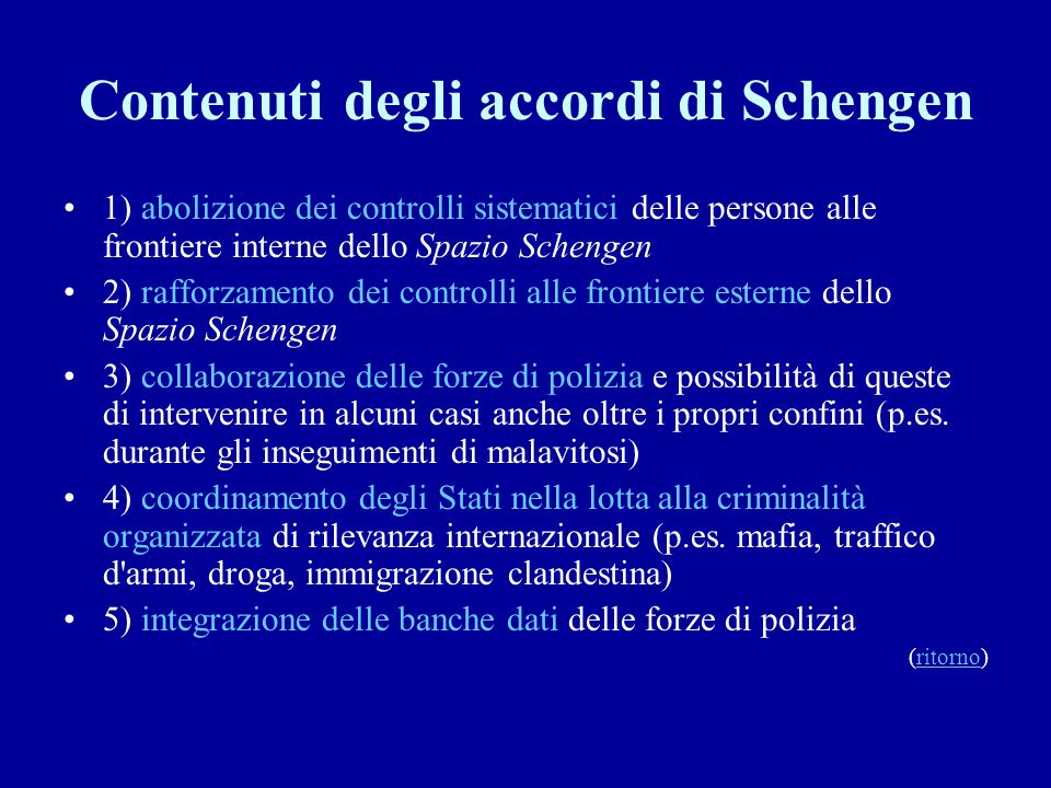 Contenuti degli accordi di Schengen