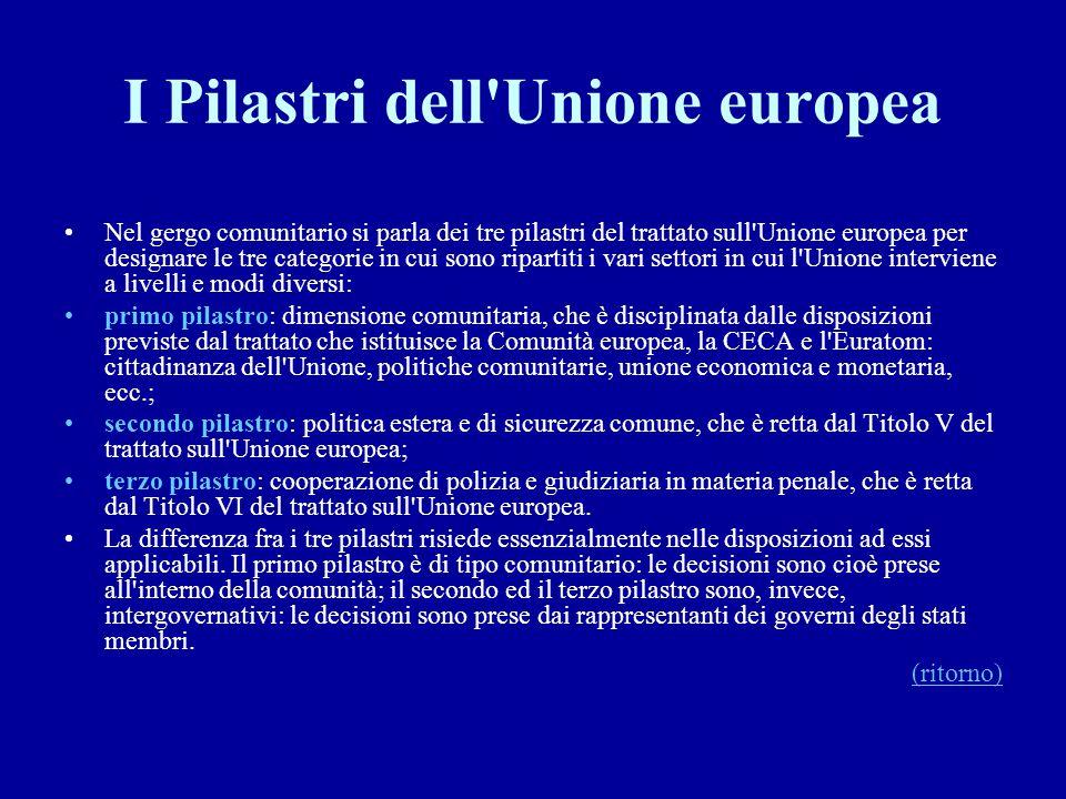 I Pilastri dell Unione europea