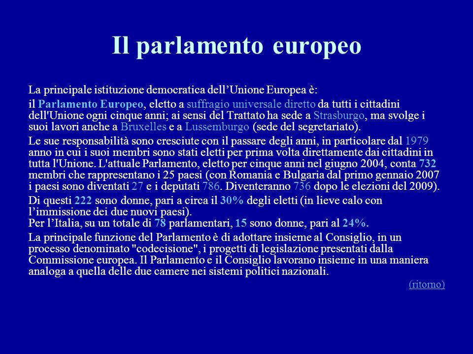 Il parlamento europeo La principale istituzione democratica dell'Unione Europea è: