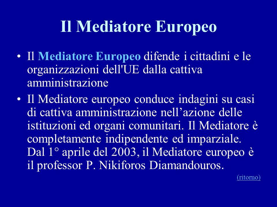 Il Mediatore Europeo Il Mediatore Europeo difende i cittadini e le organizzazioni dell UE dalla cattiva amministrazione.