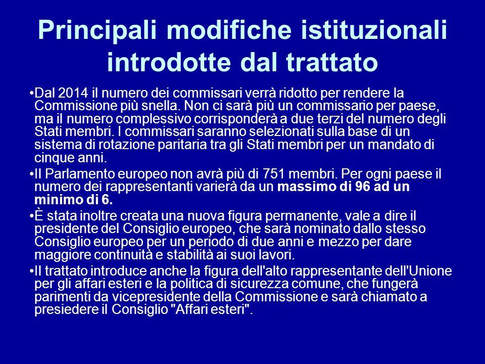 Principali modifiche istituzionali introdotte dal trattato