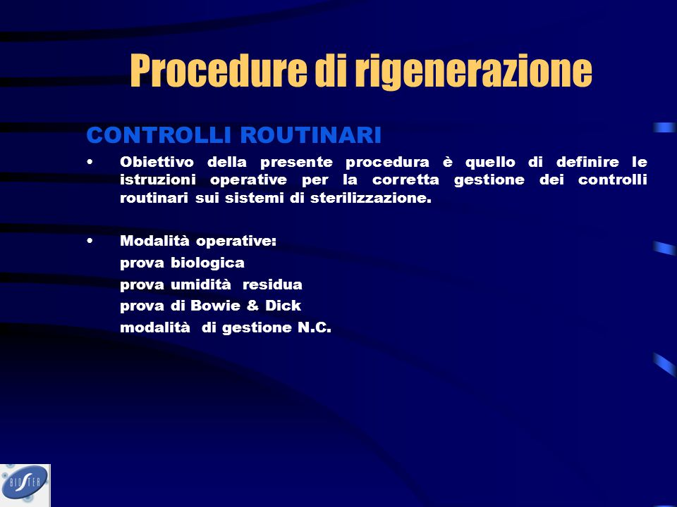 Procedure di rigenerazione