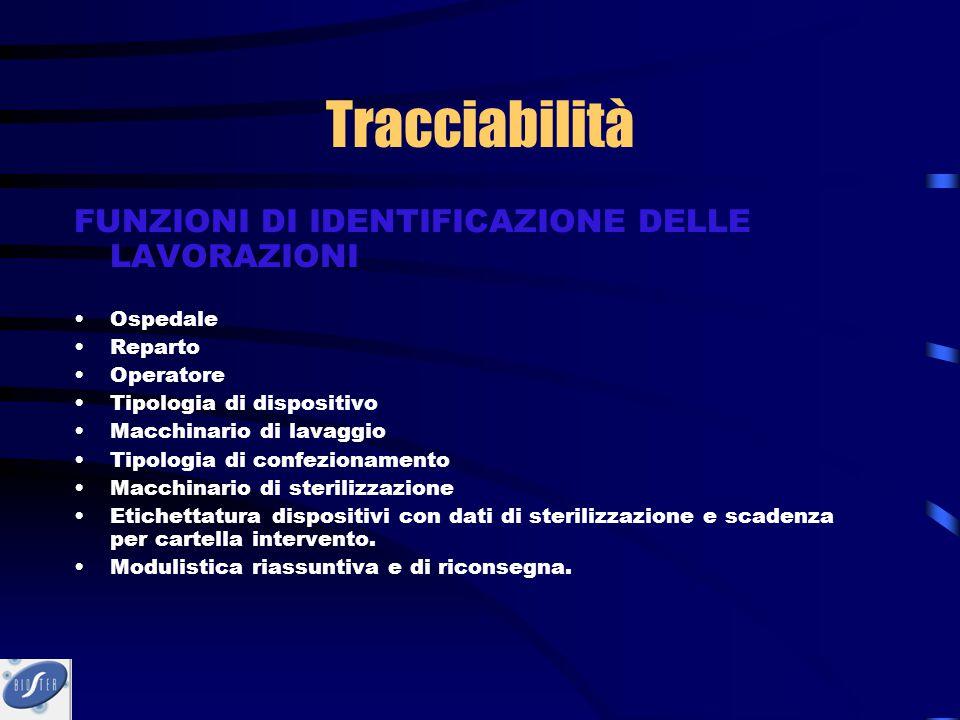 Tracciabilità FUNZIONI DI IDENTIFICAZIONE DELLE LAVORAZIONI Ospedale