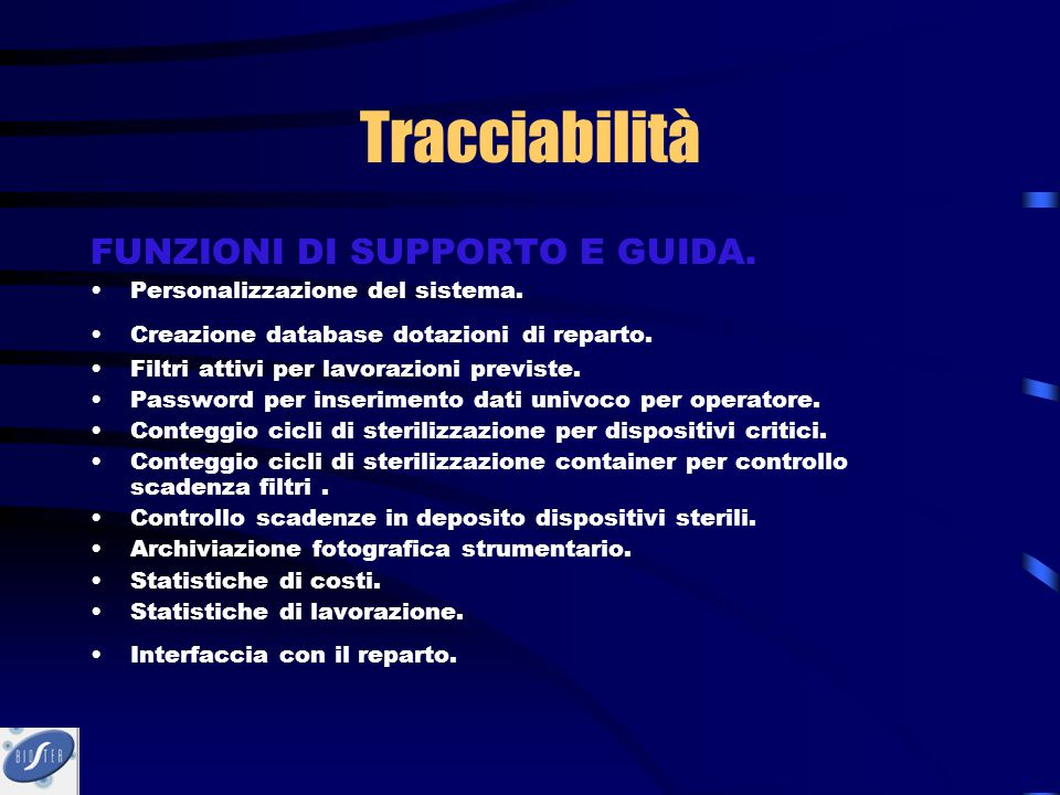 Tracciabilità FUNZIONI DI SUPPORTO E GUIDA.
