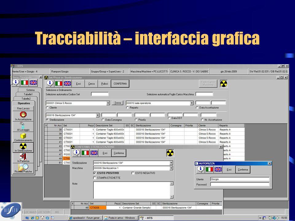Tracciabilità – interfaccia grafica