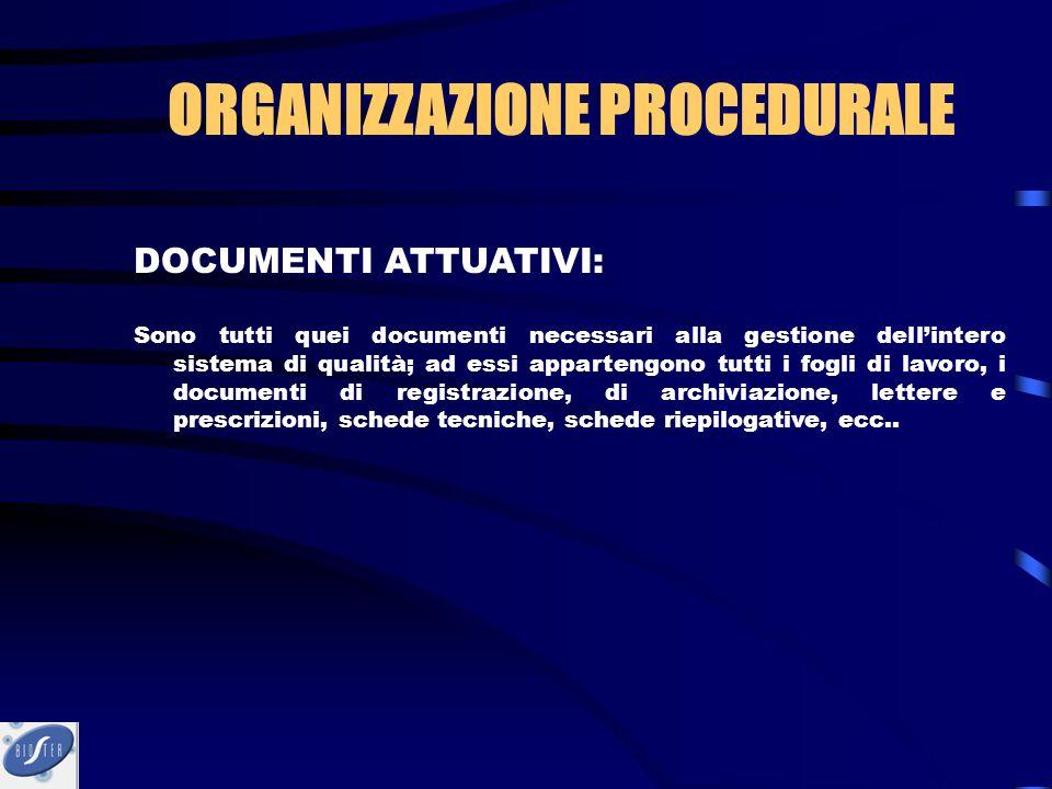 ORGANIZZAZIONE PROCEDURALE