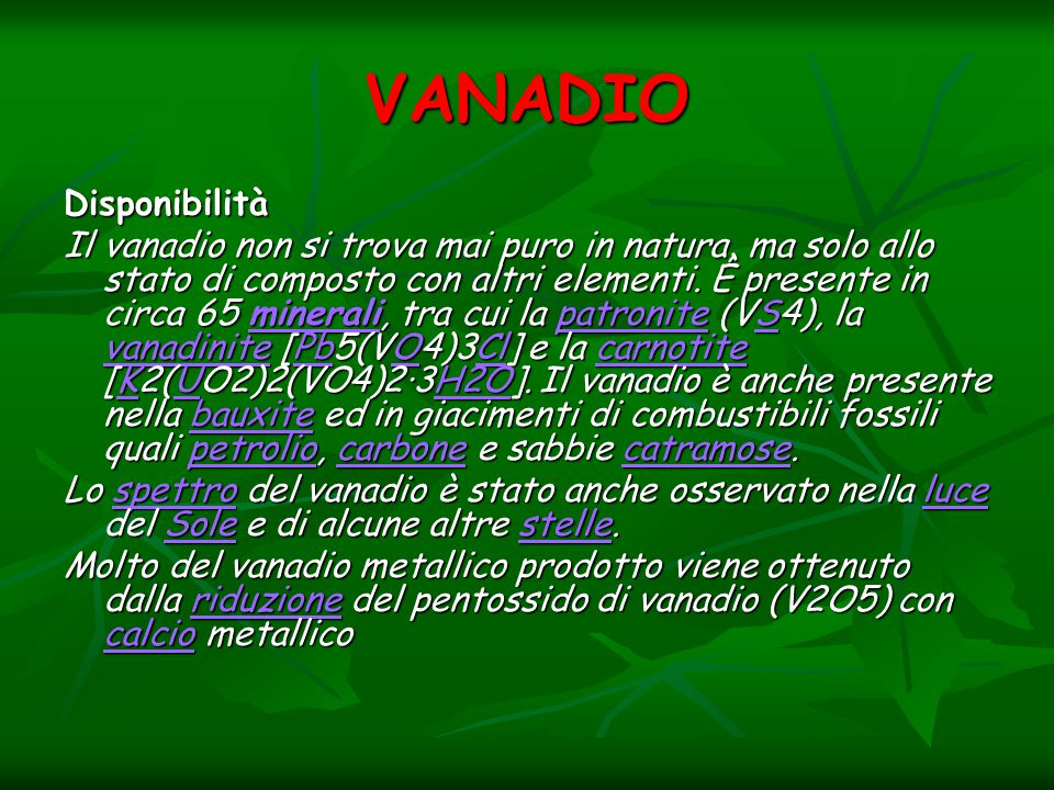 VANADIO Disponibilità