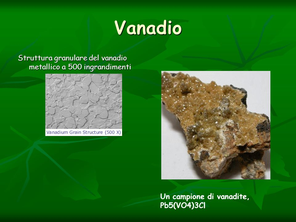 Vanadio Struttura granulare del vanadio metallico a 500 ingrandimenti