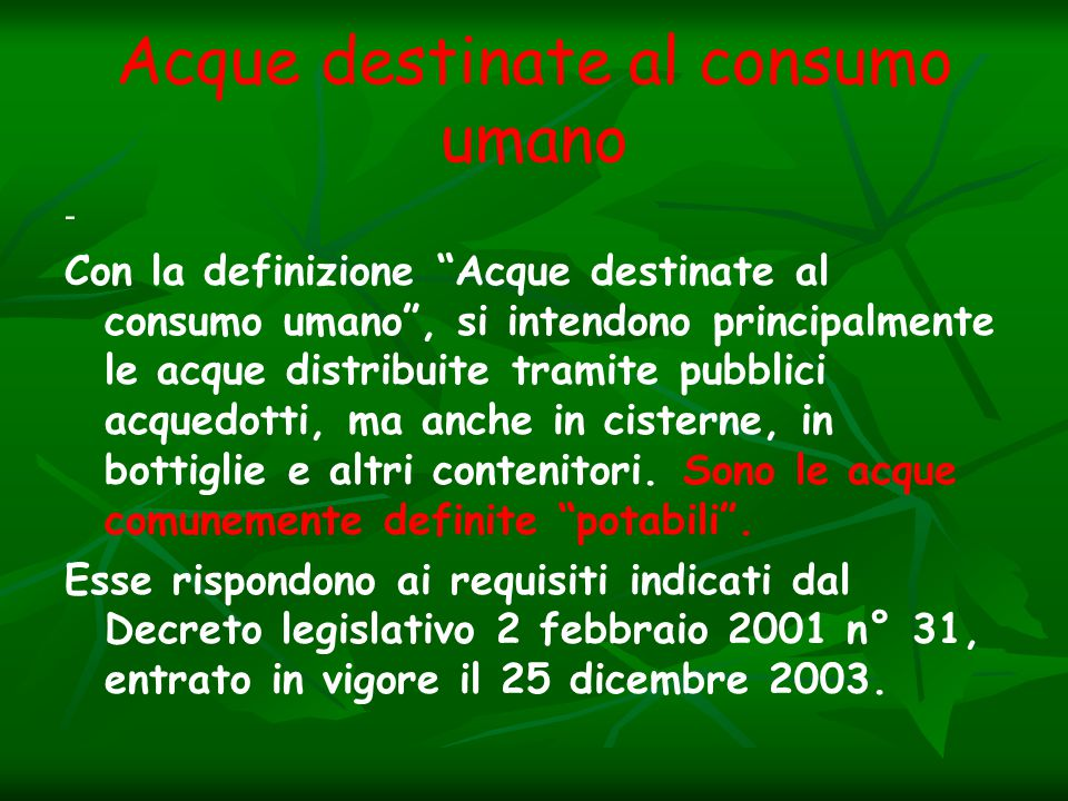 Acque destinate al consumo umano