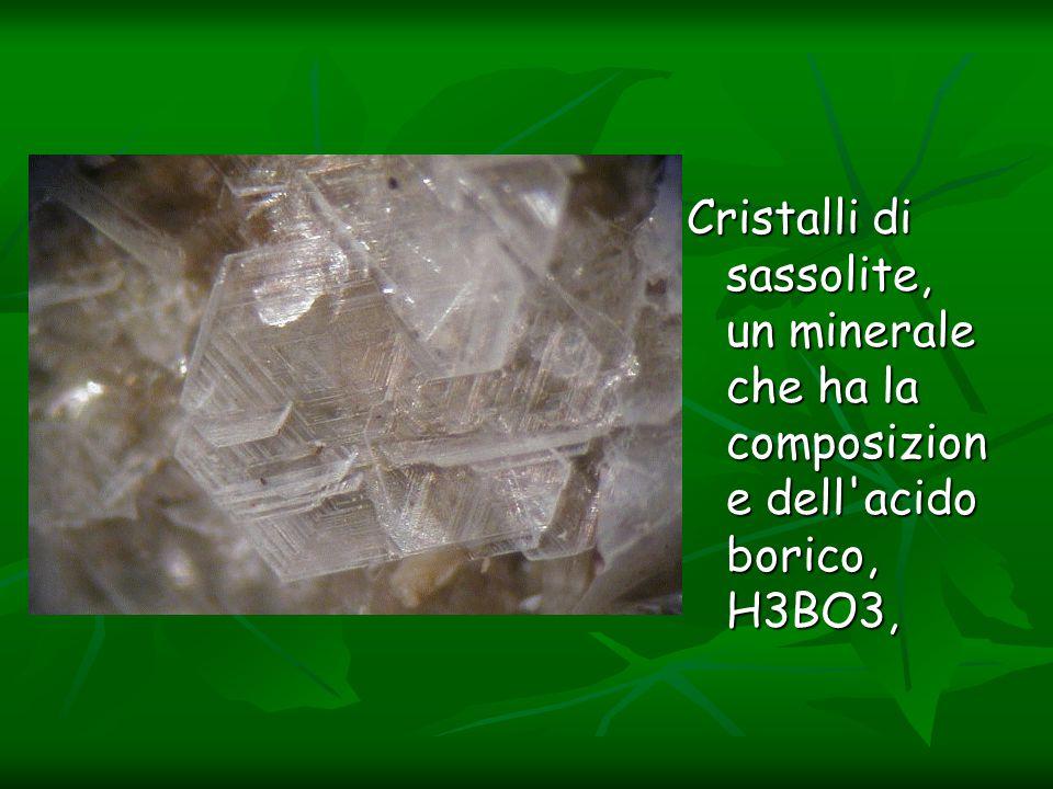 Cristalli di sassolite, un minerale che ha la composizione dell acido borico, H3BO3,