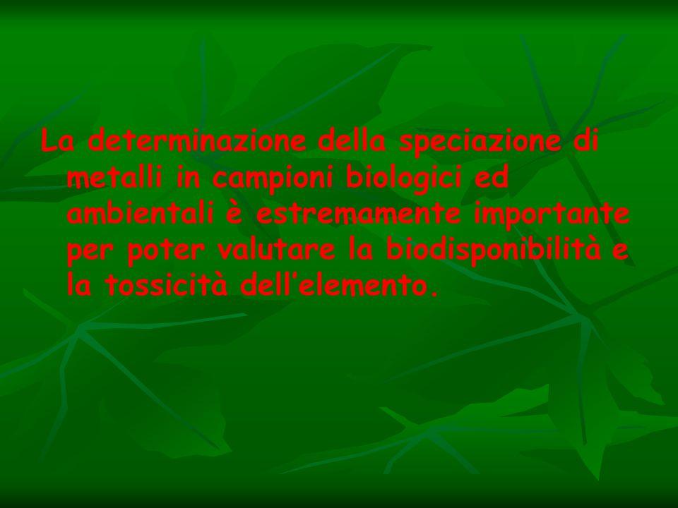 La determinazione della speciazione di metalli in campioni biologici ed ambientali è estremamente importante per poter valutare la biodisponibilità e la tossicità dell'elemento.