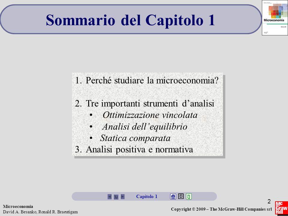 Sommario del Capitolo 1 Perché studiare la microeconomia
