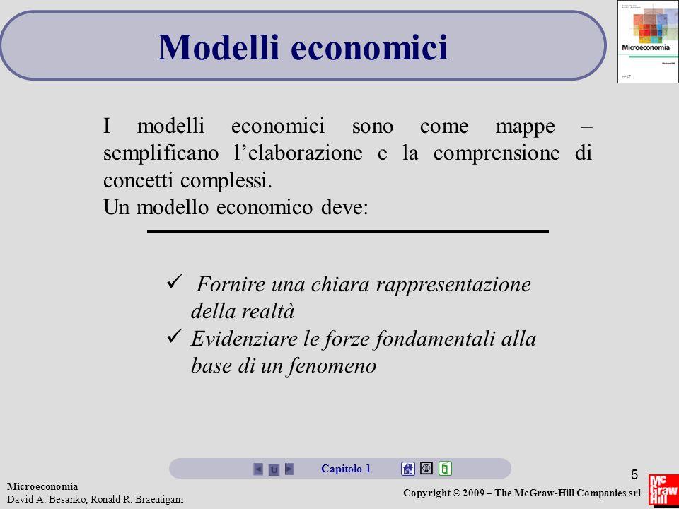 Modelli economici I modelli economici sono come mappe – semplificano l'elaborazione e la comprensione di concetti complessi.