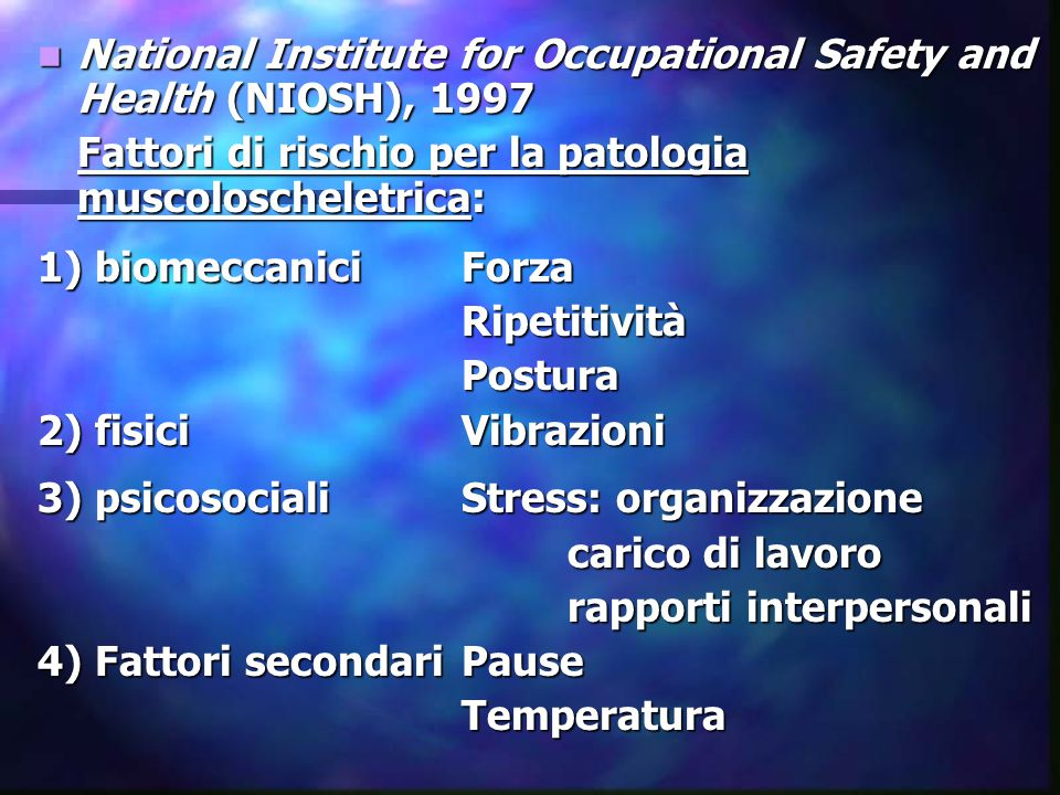 National Institute for Occupational Safety and Health (NIOSH), 1997