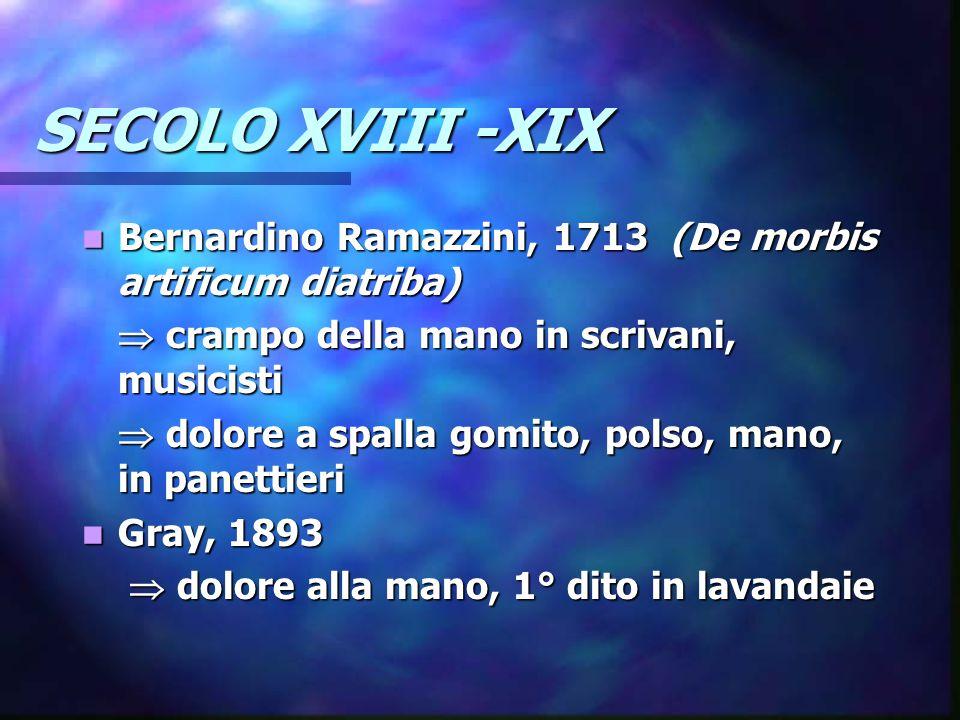 SECOLO XVIII -XIX Bernardino Ramazzini, 1713 (De morbis artificum diatriba)  crampo della mano in scrivani, musicisti.