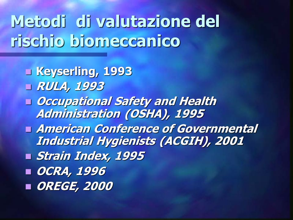 Metodi di valutazione del rischio biomeccanico
