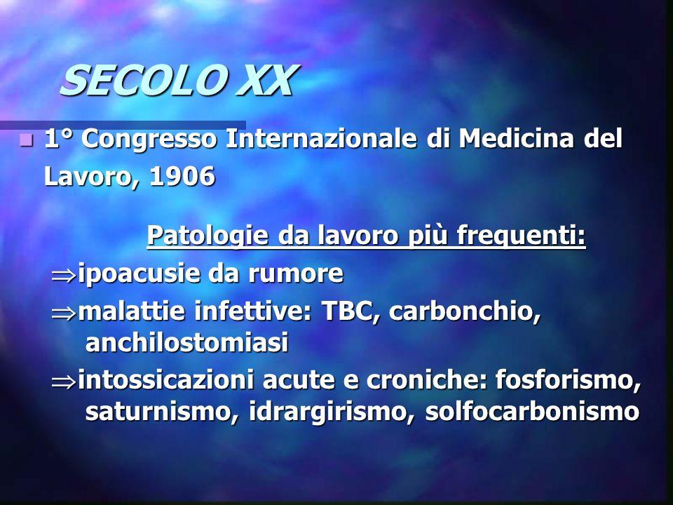 Patologie da lavoro più frequenti: