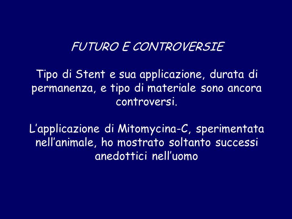 FUTURO E CONTROVERSIE Tipo di Stent e sua applicazione, durata di permanenza, e tipo di materiale sono ancora controversi.