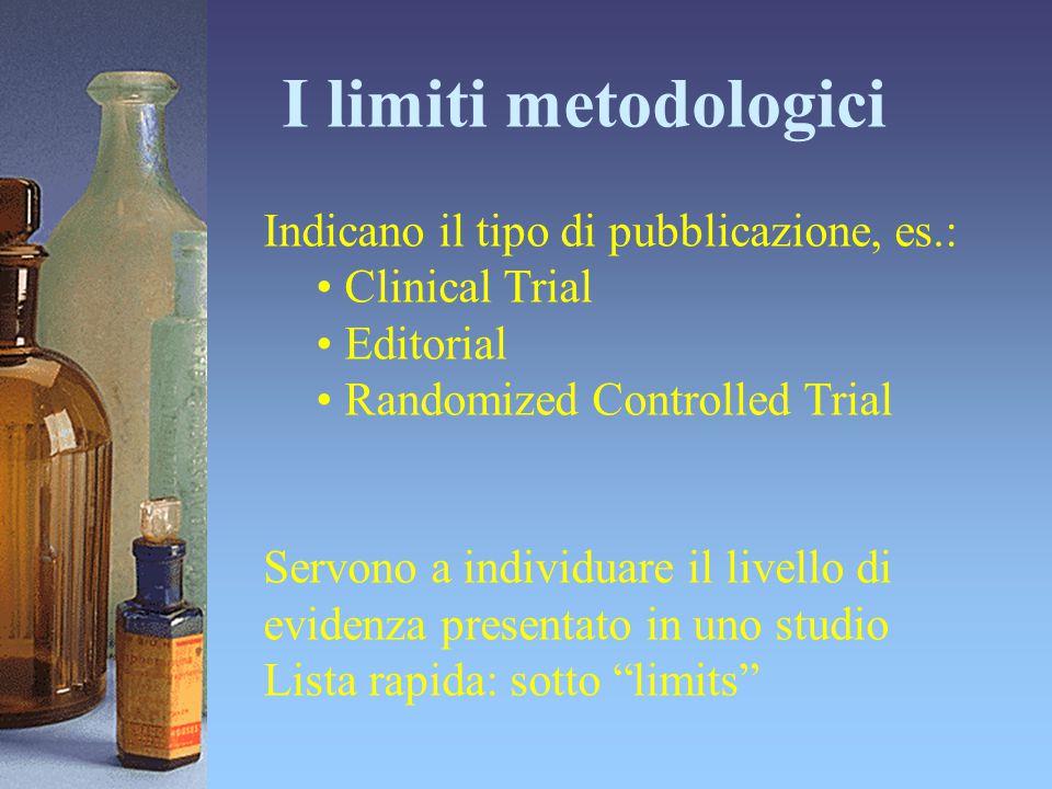 I limiti metodologici Indicano il tipo di pubblicazione, es.: