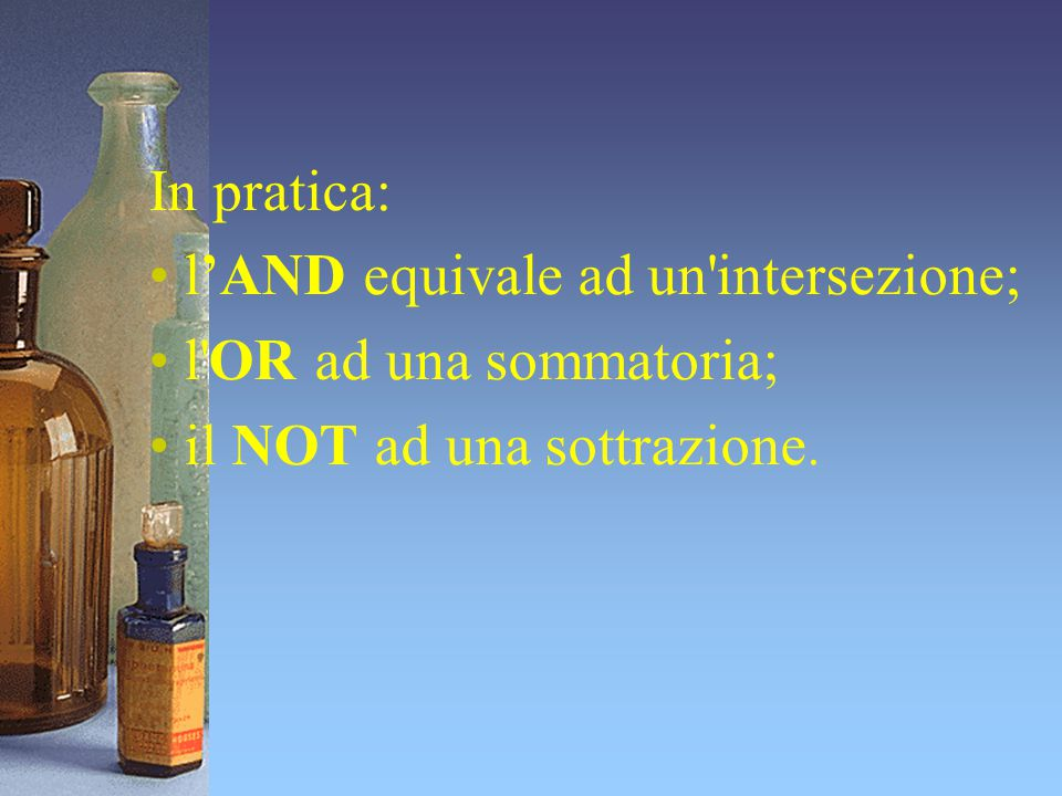In pratica: l'AND equivale ad un intersezione; l OR ad una sommatoria; il NOT ad una sottrazione.