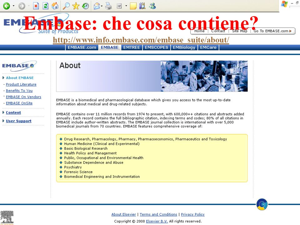 Embase: che cosa contiene. http://www. info. embase