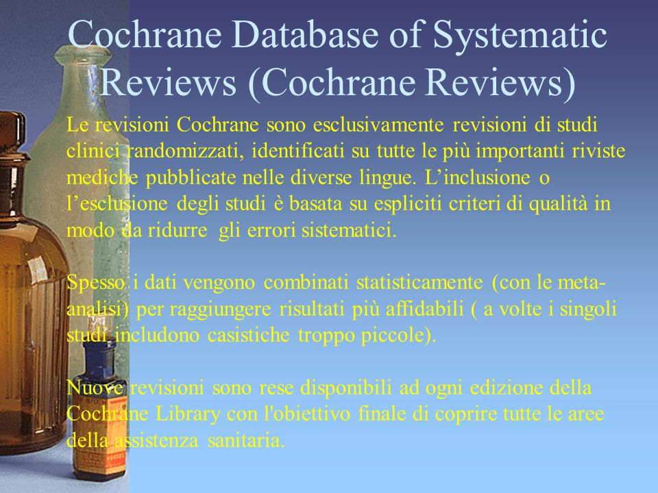 Cochrane Database of Systematic Reviews (Cochrane Reviews)