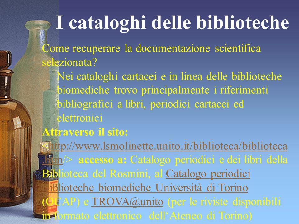 I cataloghi delle biblioteche