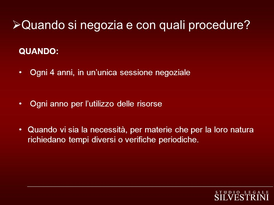 Quando si negozia e con quali procedure