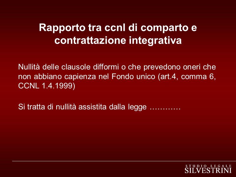 Rapporto tra ccnl di comparto e contrattazione integrativa