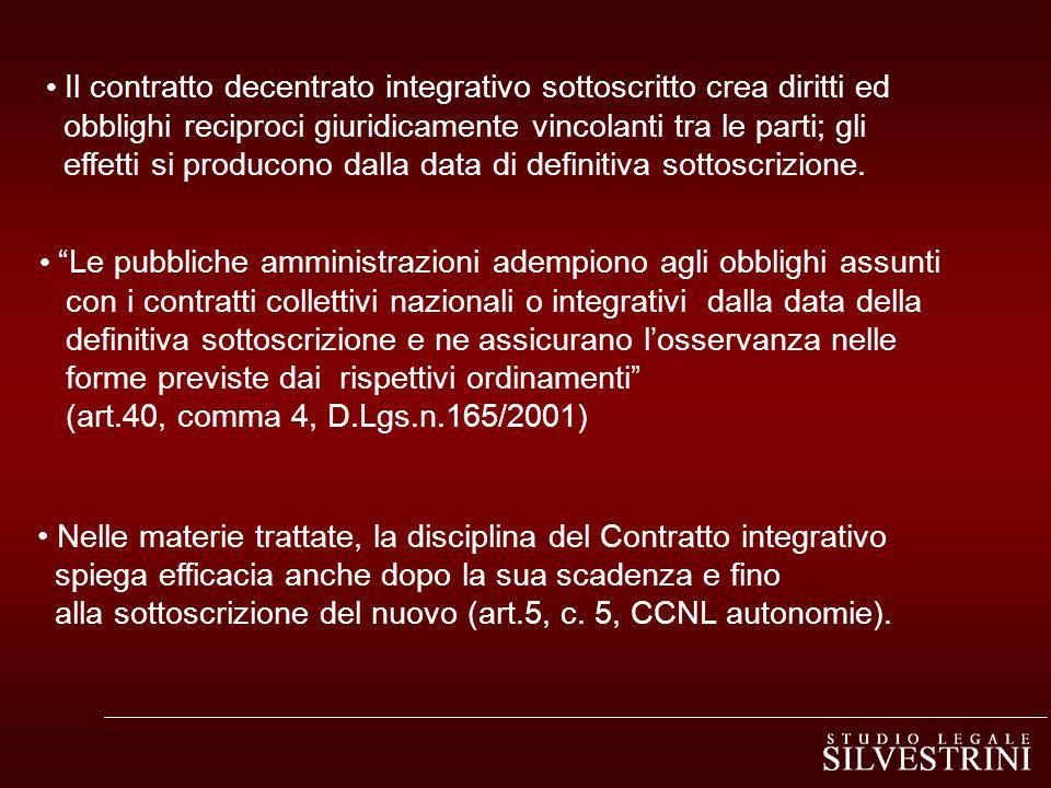 Il contratto decentrato integrativo sottoscritto crea diritti ed