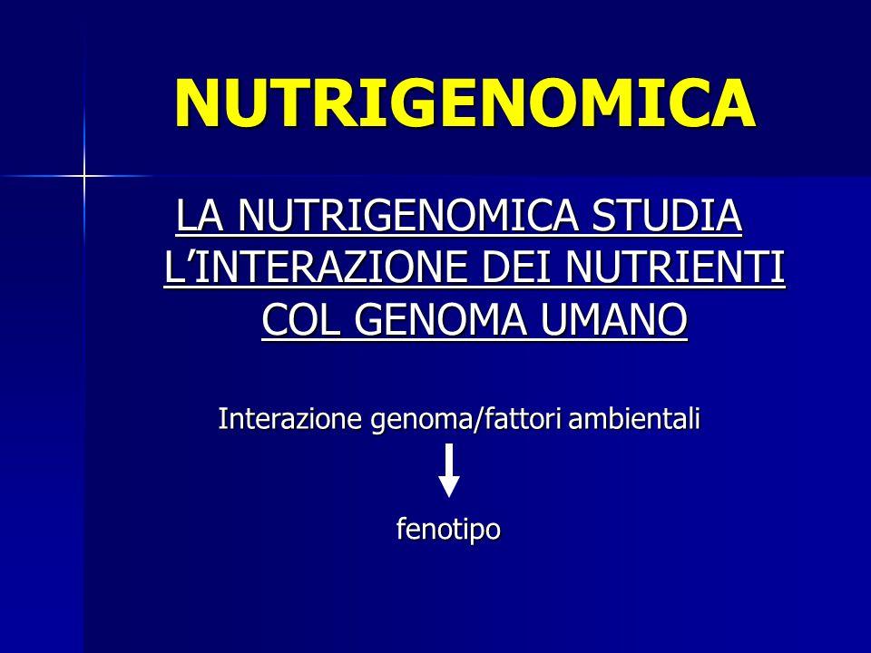 LA NUTRIGENOMICA STUDIA L'INTERAZIONE DEI NUTRIENTI COL GENOMA UMANO