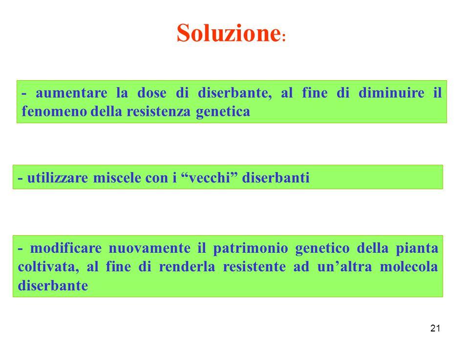 Soluzione: - aumentare la dose di diserbante, al fine di diminuire il fenomeno della resistenza genetica.