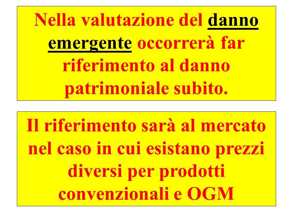 Nella valutazione del danno emergente occorrerà far riferimento al danno patrimoniale subito.