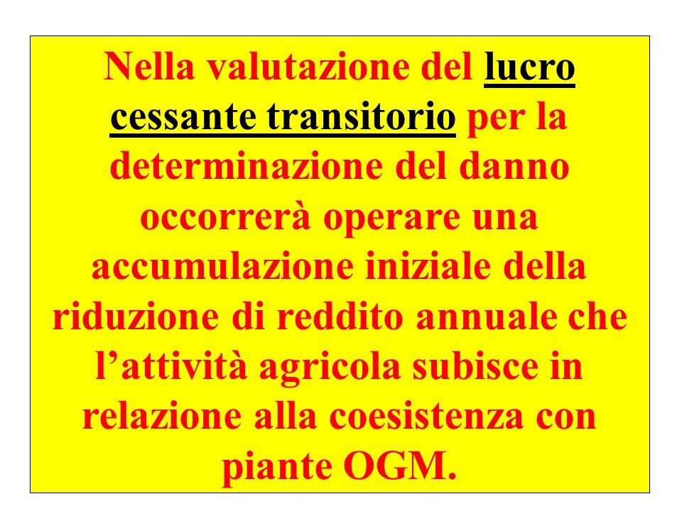 Nella valutazione del lucro cessante transitorio per la determinazione del danno occorrerà operare una accumulazione iniziale della riduzione di reddito annuale che l'attività agricola subisce in relazione alla coesistenza con piante OGM.