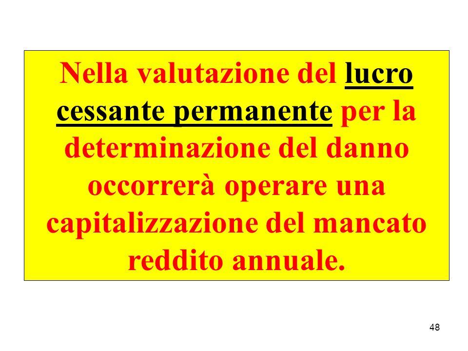 Nella valutazione del lucro cessante permanente per la determinazione del danno occorrerà operare una capitalizzazione del mancato reddito annuale.
